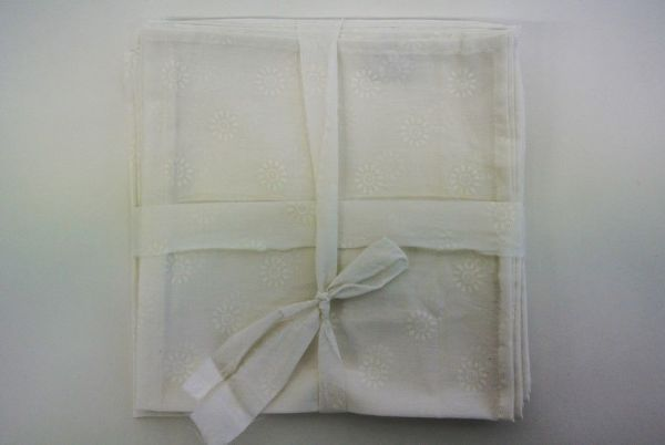 Serviette de table MANSI-blanc-Creation Claire Gasparini